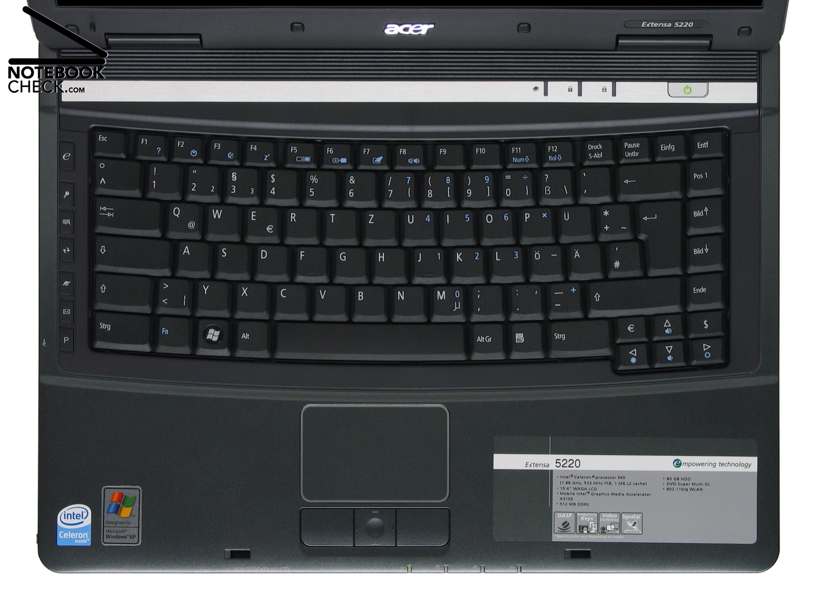 Critique Du Acer Extensa 5220 Notebookcheck Fr