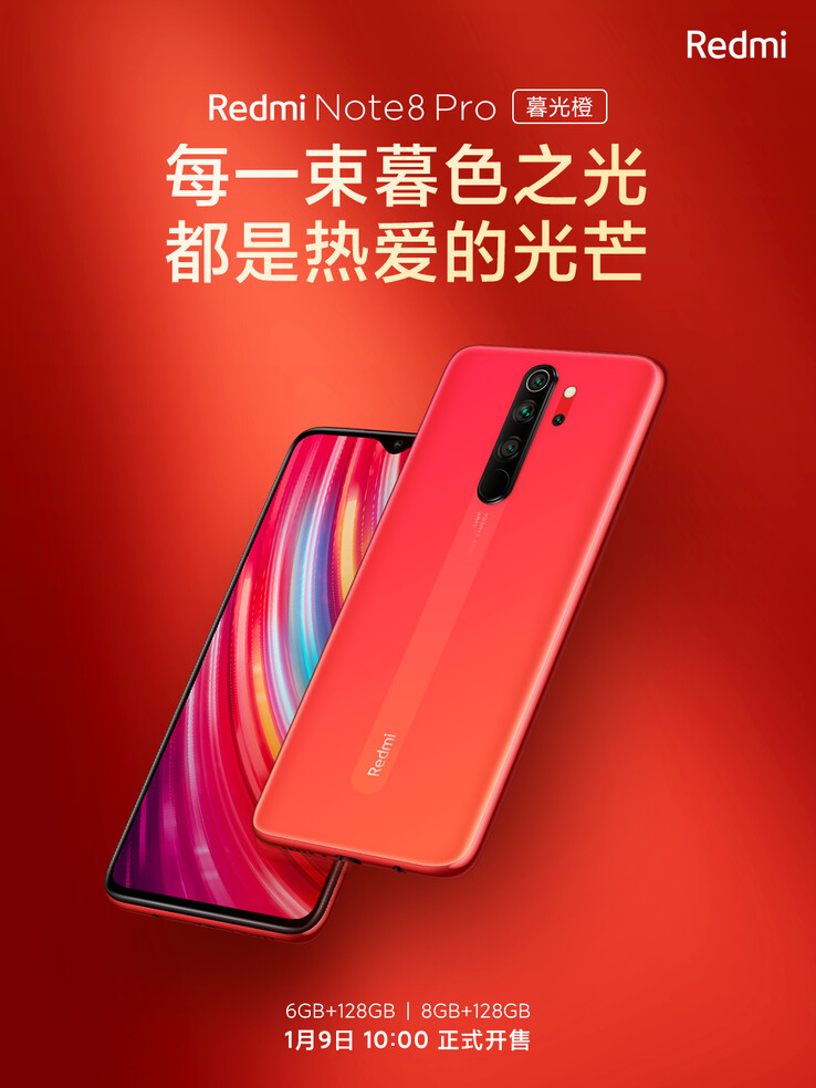 Twilight Orange Redmi Note 8 Pro. (Source de l'image : Xiaomi)