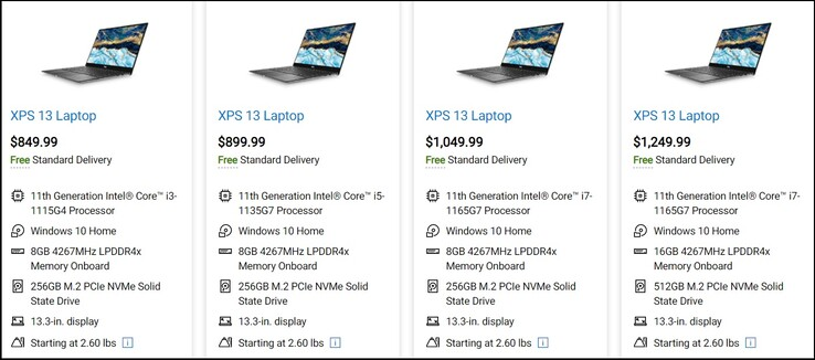 Options de configuration du Dell XPS 13 9305. (Source de l'image : Dell)