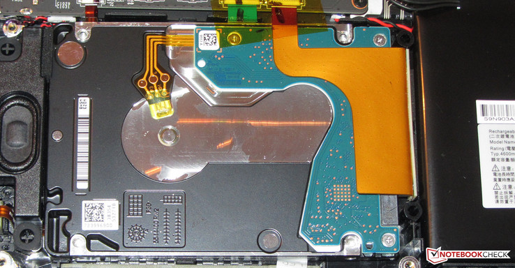 The HDD can be replaced hassle-free. The SSD can only be replaced after the removal of the motherboard.