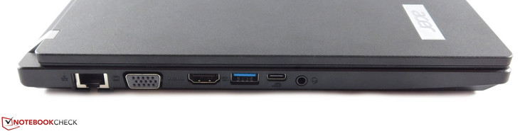 A gauche : Ethernet, VGA, HDMI, USB 3.0 type A, USB 3.0 typce C, combo audio jack 3,5 mm.