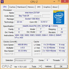 CPU Z overview information