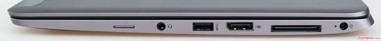 Côté droit : lecteur de carte SIM, entrée/sortie audio, USB 3.0, DisplayPort, port pour station d'accueil et connecteur d'alimentation.