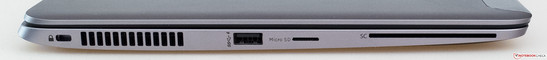 Côté gauche : port Kensington, grille d'aération, USB 3.0, lecteur de cartes mémoires micro SD, lecteur de cartes à puce.