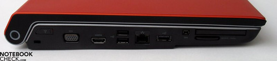 Left Side: Kensington Lock, VGA-Out, HDMI, 2x USB 2.0, LAN, USB, FireWire, ExpressCard, SD card reader
