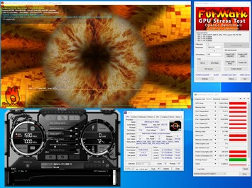 MSI GeForce RTX 2080 Ti Gaming X Trio - Informations système pendant un test FurMark PT 100%.