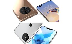 Huawei Mate 40 Pro (en haut) & Apple iPhone 12 (en bas). (Source de l'image : WindowsUnited.de/PhoneArena - édité)